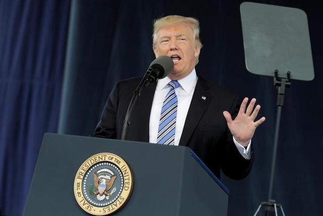 U.S. President Donald Trump delivers keynote address at Liberty University's commencement in Lynchburg, Virginia, U.S., May 13, 2017. REUTERS/Yuri Gripas