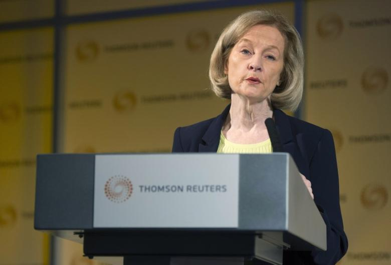 FILE PHOTO: Daniele Nouy, chair of the Supervisory Board of the European Central Bank, speaks at a Thomson Reuters newsmaker event at Canary Wharf in London November 28, 2014. REUTERS/Neil Hall
