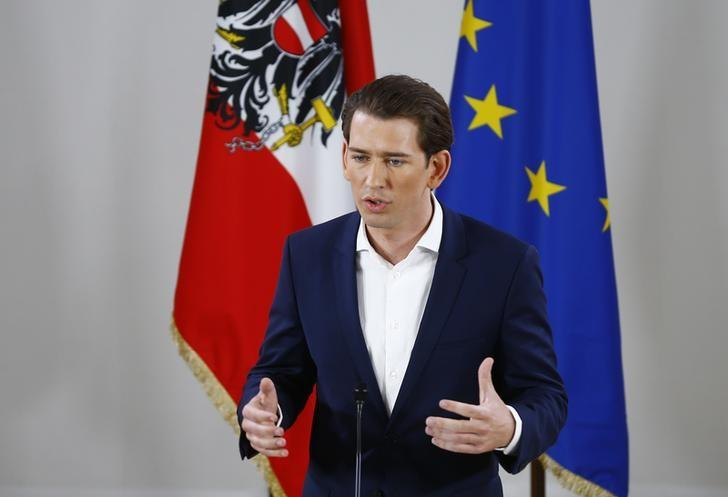 Austria's Foreign Minister and designated new leader of the People's Party (OeVP) Sebastian Kurz addresses a news conference in Vienna, Austria, May 14, 2017. REUTERS/Leonhard Foeger
