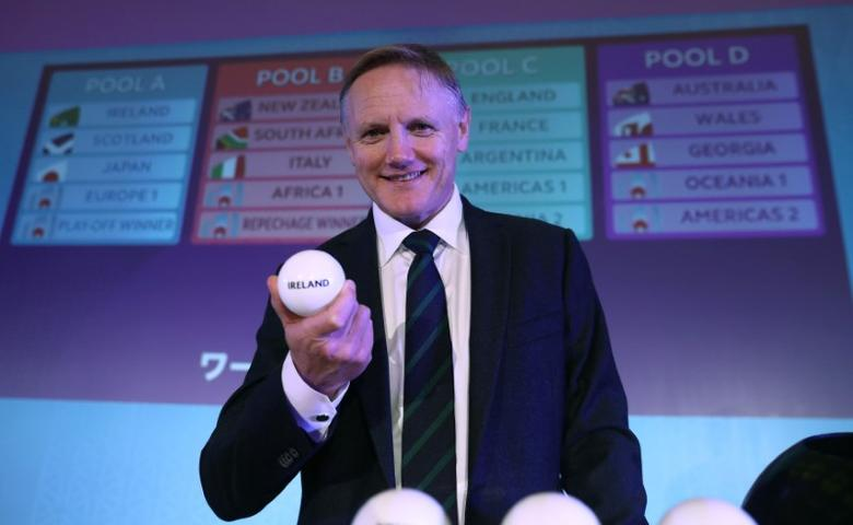 Ireland Head Coach Joe Schmidt poses during the Rugby World Cup 2019 Pool Draw at the Kyoto State Guest House in Kyoto, Japan May 10, 2017. World Rugby/Handout via REUTERS