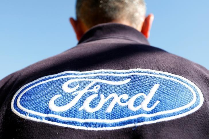 The Ford logo is seen on a t-shirt of an employee in Cuautitlan Izcalli, Mexico January 4, 2017. REUTERS/Carlos Jasso