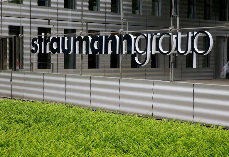 The logo of dental implant manufacturer Straumann Group is seen at its headquarters in Basel, Switzerland May 5, 2017.  REUTERS/Arnd Wiegmann