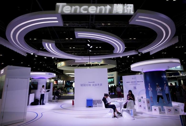 Tencent's booth is pictured at the Global Mobile Internet Conference (GMIC) 2017 in Beijing, China April 28, 2017. REUTERS/Jason Lee