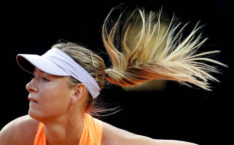 Tennis - WTA - Rome Open - Maria Sharapova of Russia v Mirjana Lucic-Baroni of Croatia - Rome, Italy - 16/5/17- Sharapova serves the ball. REUTERS/Max Rossi