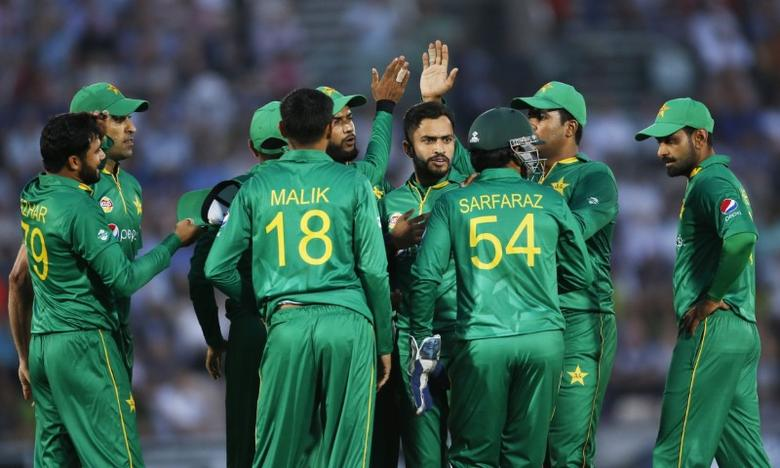 Cricket Britain - England v Pakistan - First One Day International - The Ageas Bowl - 24/8/16 Pakistan's Mohammad Nawaz celebrates taking the wicket of England's Jason Roy with teammates Action Images via Reuters / Paul Childs