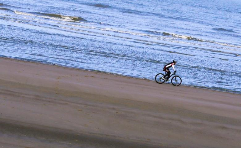 A cyclist steers his bicycle on a beach facing the North Sea near the village of De Haan, Belgium January 23, 2016.  REUTERS/Yves Herman