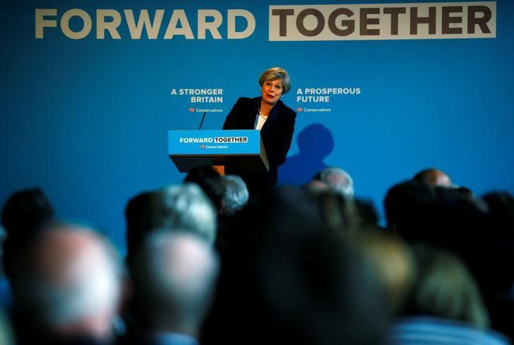 Britain's Prime Minister Theresa May's launches her election manifesto in Halifax, May 18, 2017. REUTERS/Phil Noble/Files