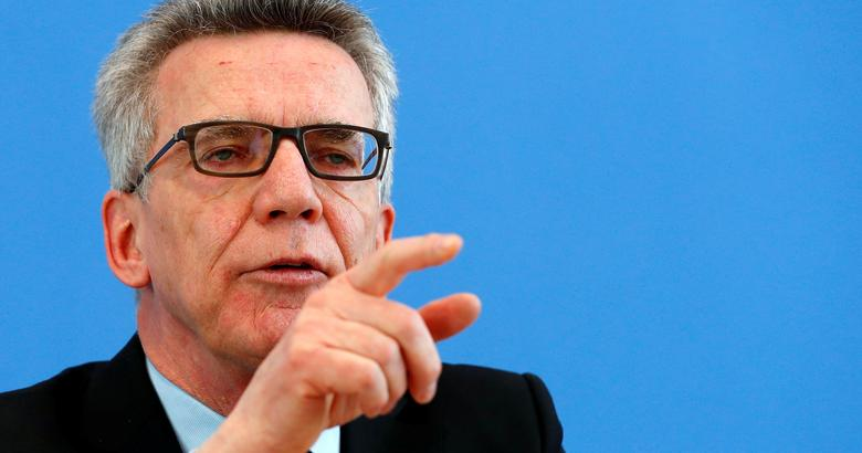 German Interior Minister Thomas de Maiziere presents the German crime statistics for 2016 during a news conference in Berlin, Germany, April 24, 2017. REUTERS/Fabrizio Bensch