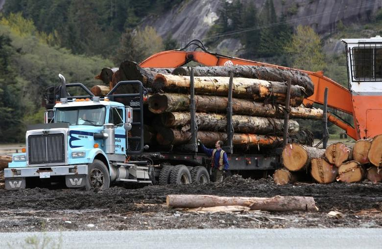 A worker checks a truck with a load of logs at Sqomish Forestry LP in Squamish, British Columbia, Canada April 25, 2017.  REUTERS/Ben Nelms