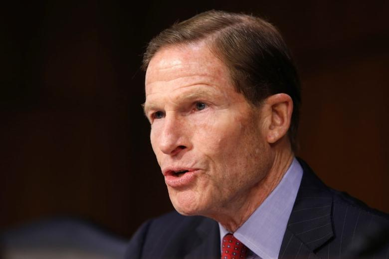 FILE PHOTO: Senator Richard Blumenthal (D-CT) questions Supreme Court nominee judge Neil Gorsuch during his Senate Judiciary Committee confirmation hearing on Capitol Hill in Washington, U.S., March 21, 2017.      REUTERS/Joshua Roberts