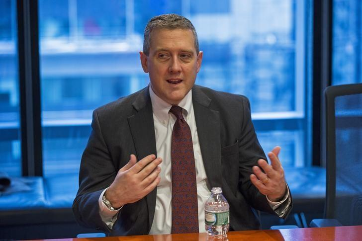 St. Louis Fed President James Bullard speaks about the U.S. economy during an interview in New York February 26, 2015. Low-yielding bond markets could abruptly ''wake up'' and reprice for tighter U.S. monetary policy, posing problems for the Federal Reserve as it approaches an interest rate hike, Bullard said on Thursday.   REUTERS/Lucas Jackson (UNITED STATES - Tags: BUSINESS POLITICS)