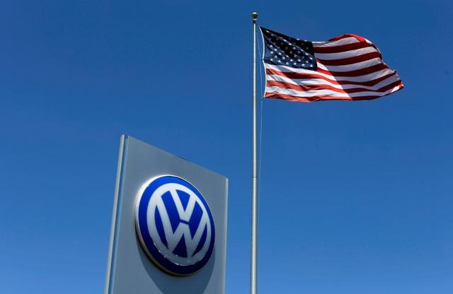 FILE PHOTO - A U.S. flag flutters in the wind above a Volkswagen dealership in Carlsbad, California, U.S. May 2, 2016.  REUTERS/Mike Blake/File Photo - RTX2YFQS