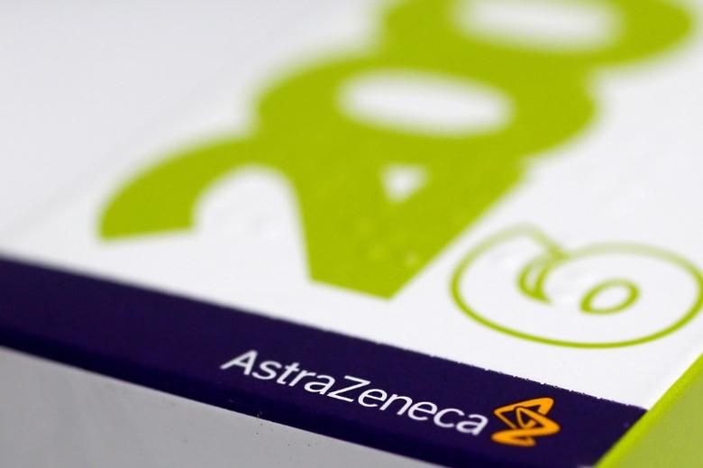 FILE PHOTO: The logo of AstraZeneca is seen on a medication package at a pharmacy in London April 28, 2014.  REUTERS/Stefan Wermuth/File Photo