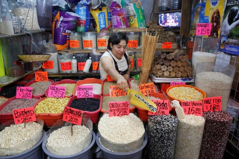 Sacks of different varieties of corn grain are displayed at a market in Mexico City, Mexico, May 19, 2017. REUTERS/Henry Romero