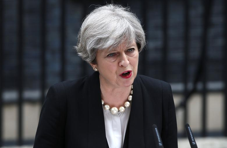Britain's Prime Minister Theresa May speaks outside 10 Downing Street in London, May 23, 2017. REUTERS/Neil Hall