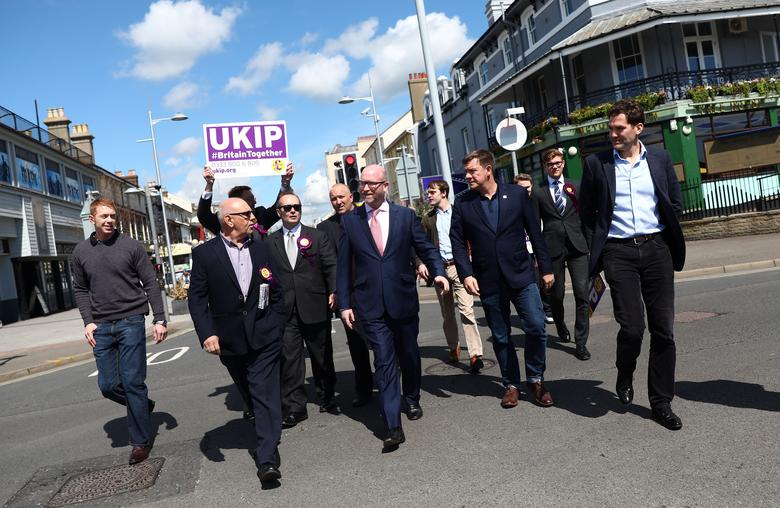 UKIP leader Paul Nuttall  (C) campaigns in Clacton-on Sea, Britain May 20, 2017. REUTERS/Neil Hall