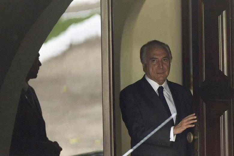 Brazil's Vice President Michel Temer is seen after a meeting with Brazilian Senate Renan Calheiros and Opposition Senator Aecio Neves of the Brazilian Social Democracy Party (PSDB) in Brasilia, Brazil April 27, 2016. REUTERS/Ueslei Marcelino