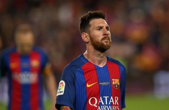5月24日、スペインの最高裁判所は、サッカーのスペイン1部、バルセロナに所属するリオネル・メッシ(写真)の上訴を棄却した。バルセロナで21日撮影(2017年 ロイター)