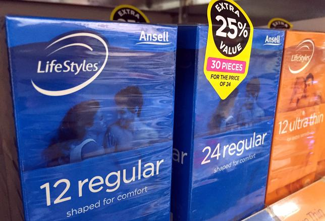 FILE PHOTO: Boxes of Ansell condoms are displayed for sale at a local pharmacy in Sydney, Australia, May 16, 2016.    REUTERS/David Gray/File Photo