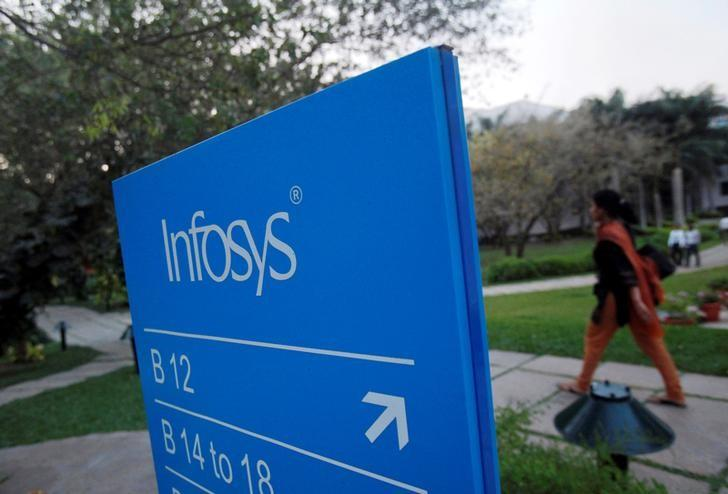FILE PHOTO: An employee walks past a signage board in the Infosys campus at the Electronics City IT district in Bangalore, February 28, 2012. REUTERS/Vivek Prakash/File Photo