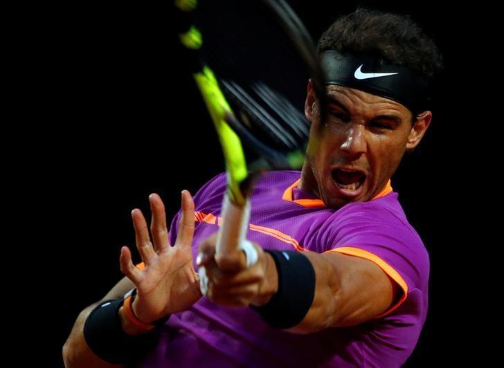 Tennis - ATP - Rome Open - Rafael Nadal of Spain v Jack Sock of the United States - Rome, Italy - 18/5/17 - Rafael Nadal of Spain returns the ball. REUTERS/Stefano Rellandini/Files