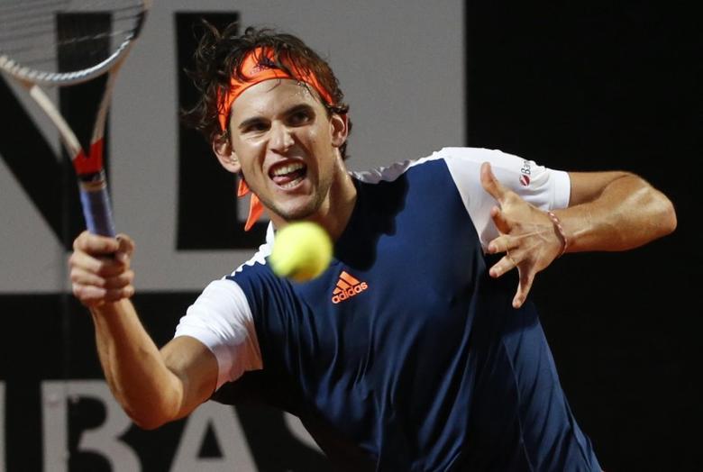 Tennis - ATP - Rome Open - Novak Djokovic of Serbia v Dominic Thiem of Austria - Rome, Italy- 20/5/17- Thiem returns the ball. REUTERS/Stefano Rellandini