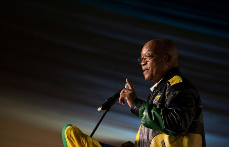 President Jacob Zuma addresses crowds gathered to celebrate his 75th birthday in Kliptown, Johannesburg, South Africa April 12, 2017. REUTERS/James Oatway