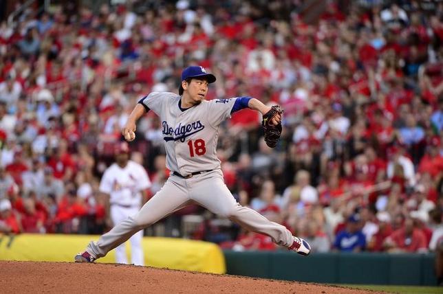 5月30日、MLBドジャースの前田健太投手は、敵地でのカージナルス戦に先発登板し、4回3失点で降板した(2017年 ロイター/Jeff Curry-USA TODAY Sports)