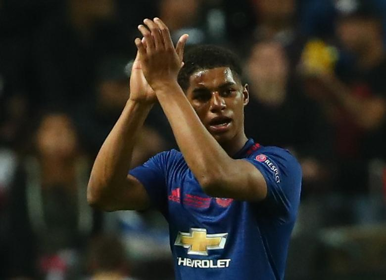 Football Soccer - Ajax Amsterdam v Manchester United - UEFA Europa League Final - Friends Arena, Solna, Stockholm, Sweden - 24/5/17 Manchester United's Marcus Rashford applauds fans as he is substituted off  Reuters / Michael Dalder Livepic/Files
