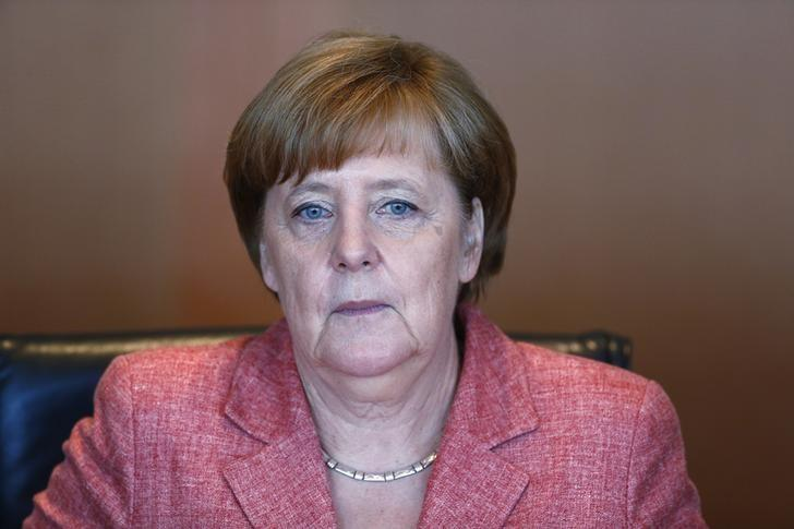 German Chancellor Angela Merkel attends the weekly cabinet meeting at the Chancellery in Berlin, Germany, May 31, 2017. REUTERS/Hannibal Hanschke