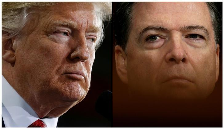 U.S. President Donald Trump (L) speaks in Ypilanti Township, Michigan March 15, 2017 and FBI Director James Comey testifies before a Senate Judiciary Committee hearing in Washington, D.C., May 3, 2017 in a combination of file photos. REUTERS/Jonathan Ernst/Kevin Lamarque/Files