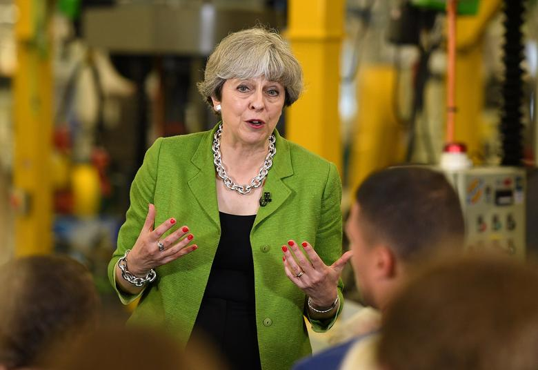 Britain's Prime Minister Theresa May speaks during a Q&A at Cross Manufacturing Company in Odd Down in Bath, Britain, May 31, 2017. REUTERS/Leon Neal/Pool