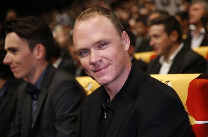 Rider Chris Froome of Britain attends the presentation of the itinerary of the 2017 Tour de France cycling race during a news conference in Paris, France, October 18, 2016. The world's greatest cycling event will start from Duesseldorf on July 1 and will finish at the Champs Elysees in Paris on July 23.  REUTERS/Benoit Tessier