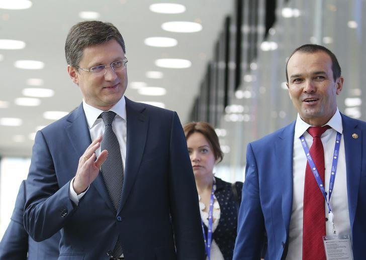Russian Energy Minister Alexander Novak (L) attends the St. Petersburg International Economic Forum (SPIEF), Russia, June 2, 2017. REUTERS/Petr Kovalev/TASS/Host Photo Agency/Pool