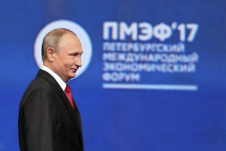 Russian President Vladimir Putin attends a session of the St. Petersburg International Economic Forum (SPIEF), Russia, June 2, 2017. REUTERS/Vladimir Smirnov/TASS/Host Photo Agency/Pool