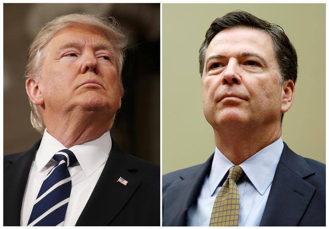 FILE PHOTO: A combination photo shows U.S. President Donald Trump (L) in the House of Representatives in Washington, U.S., on February 28, 2017 and James Comey in Washington U.S. on July 7, 2016.   REUTERS/Jim Lo Scalzo/Pool, Gary Cameron/File Photo