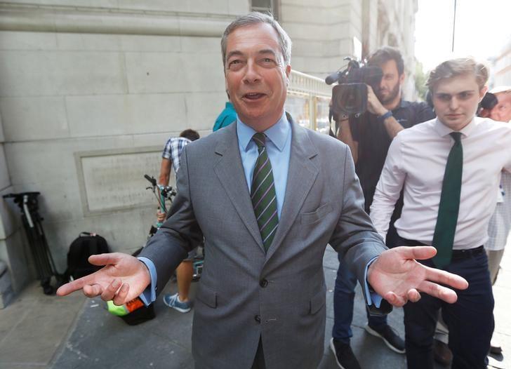 Former UKIP leader Nigel Farage leaves television studios in central London, Britain June 1, 2017. REUTERS/Peter Nicholls