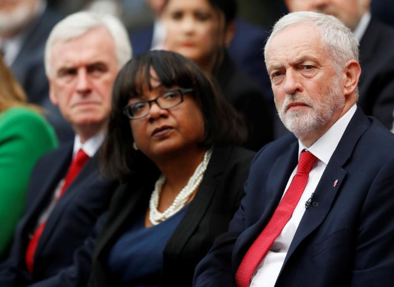 Jeremy Corbyn, the leader of Britain's opposition Labour Party, shadow Home Secretary Diane Abbott and shadow Chancellor of the Exchequer John McDonnell attend the party's election manifesto launch at Bradford University, May 16, 2017. REUTERS/Darren Staples
