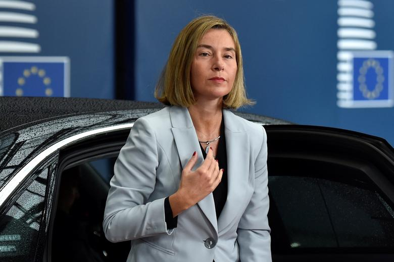 FILE PHOTO: European Union foreign policy chief Federica Mogherini arrives for a meeting of European Union defence ministers at the EU Council in Brussels, Belgium May 18, 2017. REUTERS/Eric Vidal