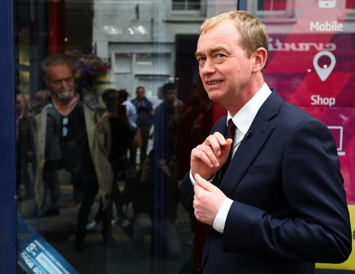 Liberal Democrat leader Tim Farron campaigns for the forthcoming general election, in Twickenham, Britain June 7, 2017. REUTERS/Neil Hall