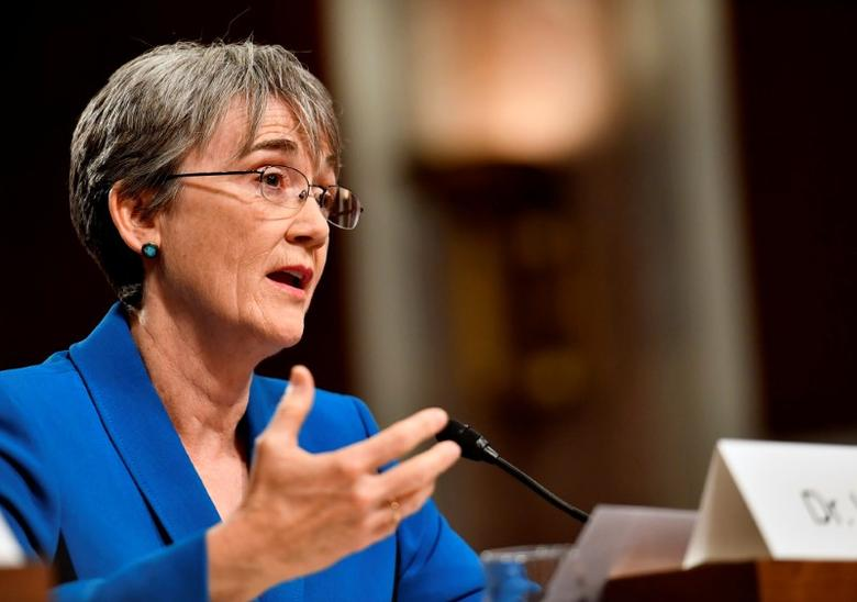 Heather Wilson testifies before the Senate Armed Services Committee, as a part of the confirmation process in Washington, DC, U.S. on March 30, 2017.  Scott M. Ash/Courtesy U.S. Air Force/Handout via REUTERS
