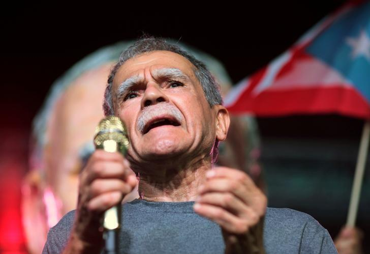 FILE PHOTO - Puerto Rican Oscar Lopez Rivera attends a rally in his honour after being released from house arrest in San Juan, Puerto Rico on May 17, 2017. REUTERS/Alvin Baez/File Photo