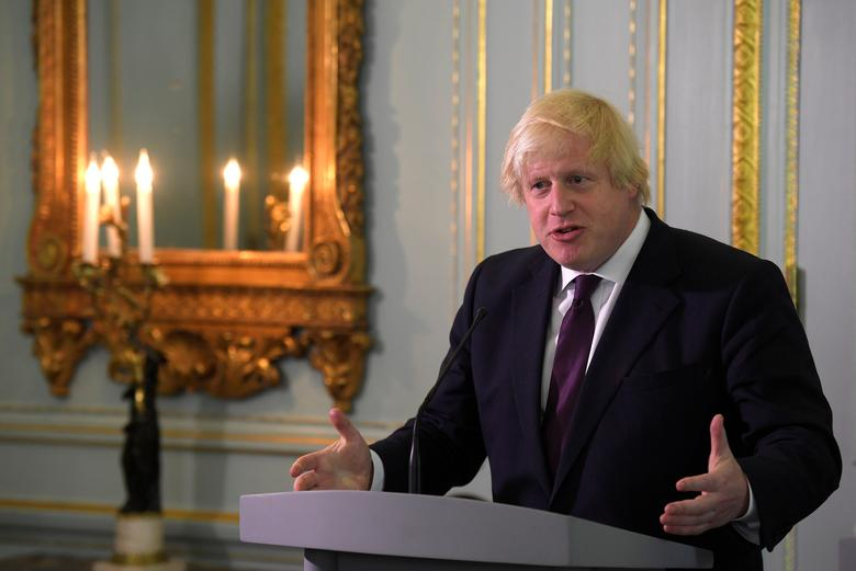 Britain's Foreign Secretary Boris Johnson speaks during a joint news conference with U.S. Secretary of State Rex Tillerson (not pictured) at his official residence in London, Britain, May 26, 2017. REUTERS/Toby Melville