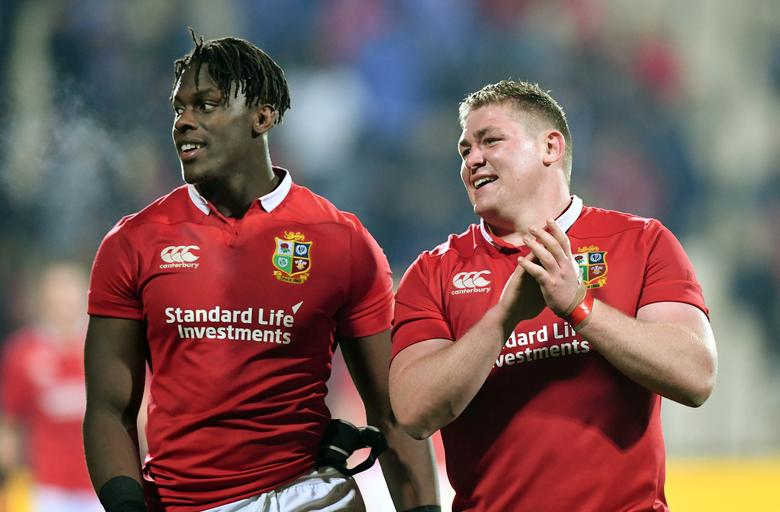 Rugby Union - British and Irish Lions vs Crusaders AMI Stadium, Christchurch, New Zealand - 10/6/17 - Maro Itoje of the Lions and team mate Tadhg Furlong celebrate their win over the Crusaders.      SNPA/Martin England/via REUTERS
