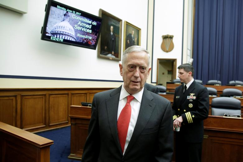 U.S. Defense Secretary James Mattis arrives  before a House Armed Services Committee hearing on the Pentagon's budget priorities on Capitol Hill in Washington, U.S., June 12, 2017. REUTERS/Yuri Gripas