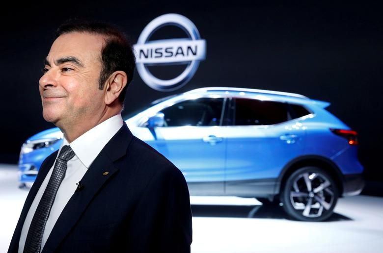Carlos Ghosn, Chairman and CEO of the Renault-Nissan Alliance, smiles before an interview during the 87th International Motor Show at Palexpo in Geneva, Switzerland, March 7, 2017. REUTERS/Denis Balibouse/File Photo
