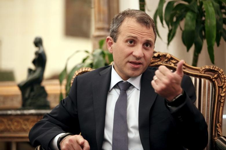 FILE PHOTO - Lebanon's Foreign Minister Gebran Bassil talks during an interview with Reuters at his office in Beirut September 10, 2015. REUTERS/Jamal Saidi