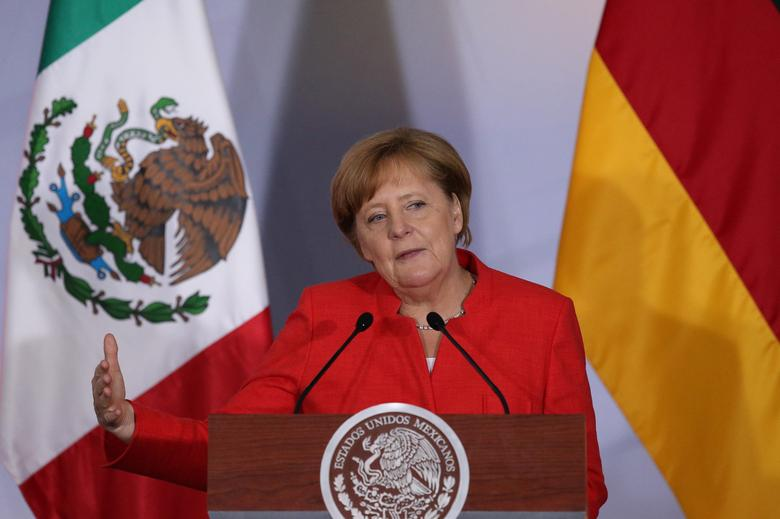 Germany's Chancellor Angela Merkel delivers a speech during an official event with Mexican and German business leaders in Mexico City, Mexico, June 10, 2017. REUTERS/Edgard Garrido