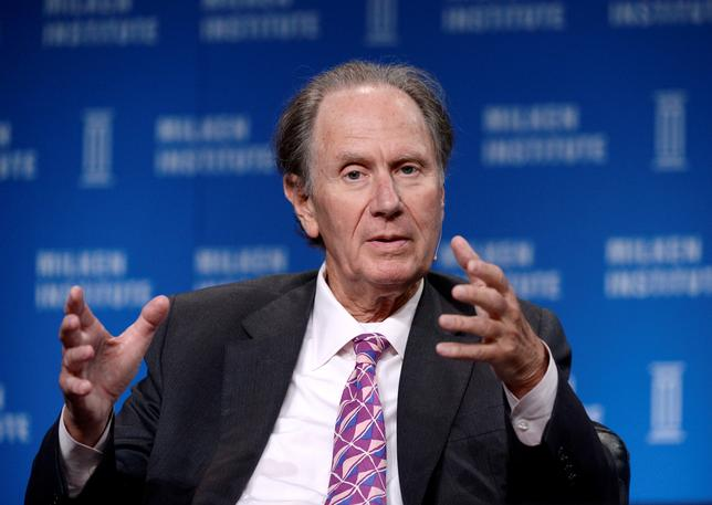 FILE PHOTO - David Bonderman, Founding Partner, TPG, takes part in Private Equity: Rebalancing Risk session during the 2014 Milken Institute Global Conference in Beverly Hills, California April 29, 2014.  REUTERS/Kevork Djansezian/File Photo