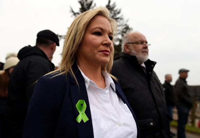 Party leader Michelle O'Neill takes part in a Sinn Fein commemorative parade to mark the 30th anniversary of the death of IRA activists in Loughgall, in the village of Cappagh, Northern Ireland April 30, 2017. REUTERS/Clodagh Kilcoyne